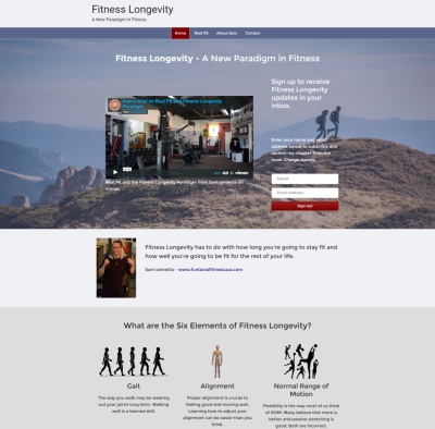 screenshot of fitness longevity website