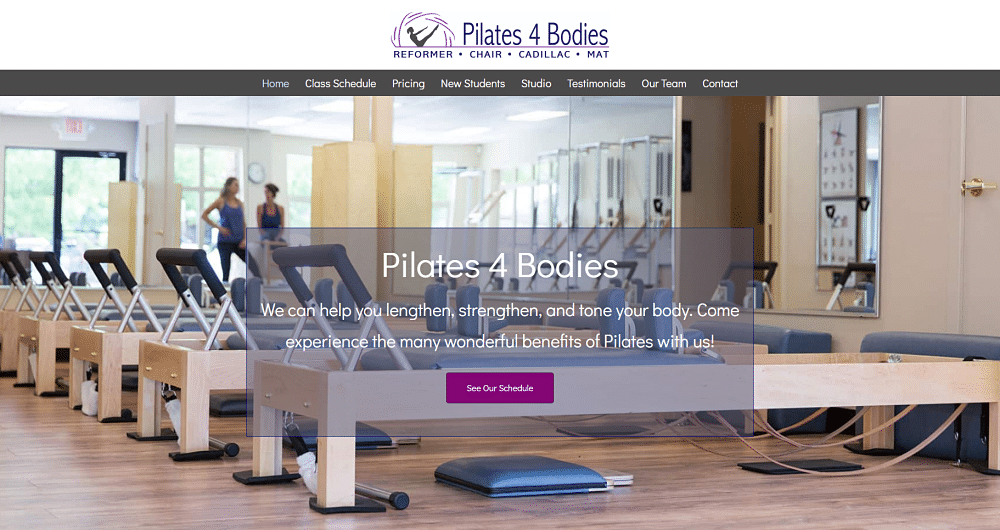 screenshot of Pilates 4 Bodies website