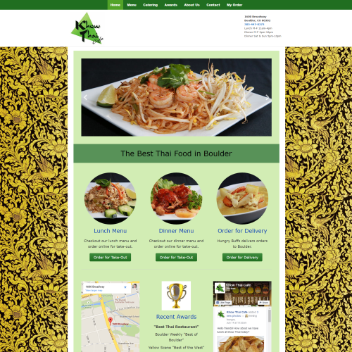 screenshot of khow thai website